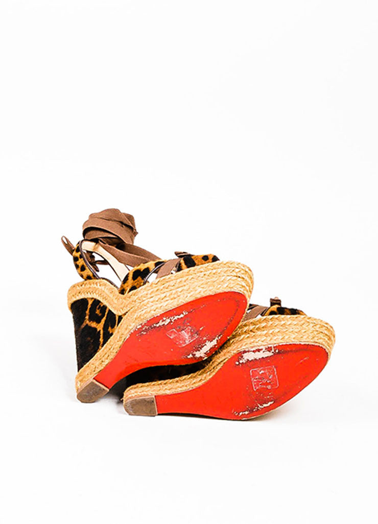 "Brown Christian Louboutin Leopard Ponyhair ""Isabelle"" Espadrille Wedges Outsoles"