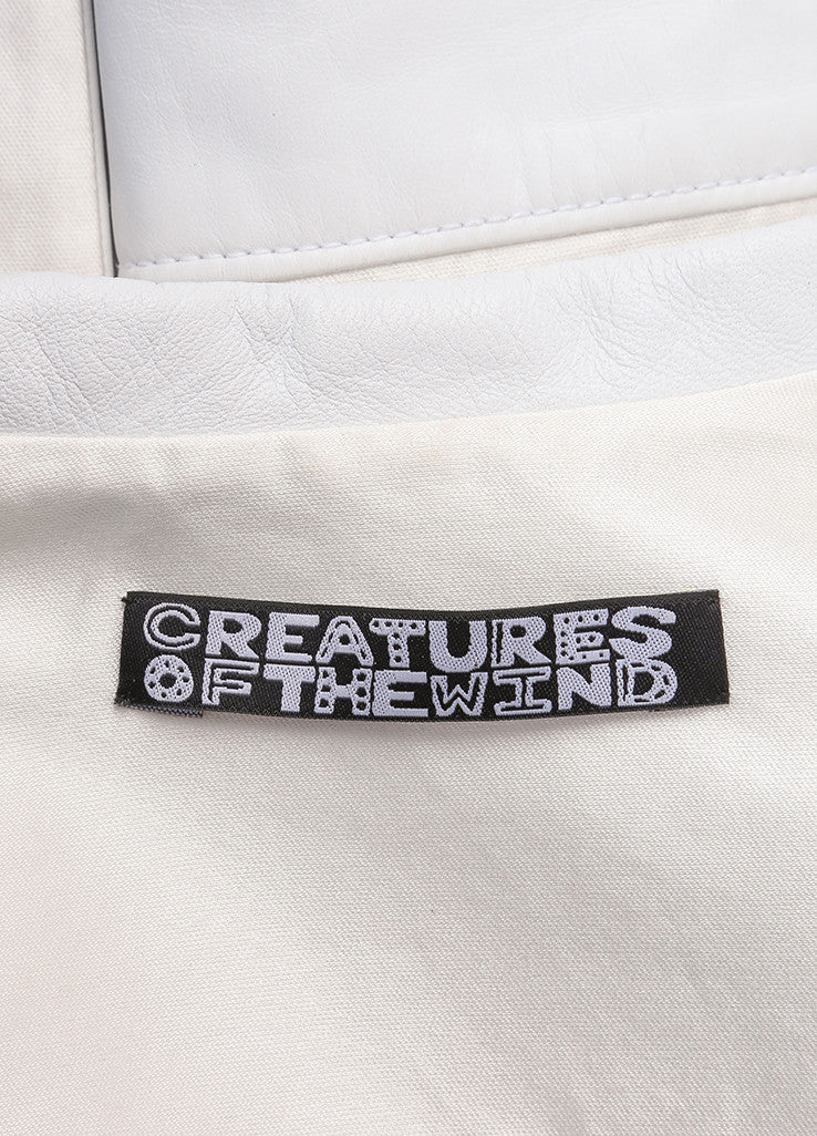 Creatures of the Wind Cream and White Satin and Silk Blend Leather Trim Jacket Brand