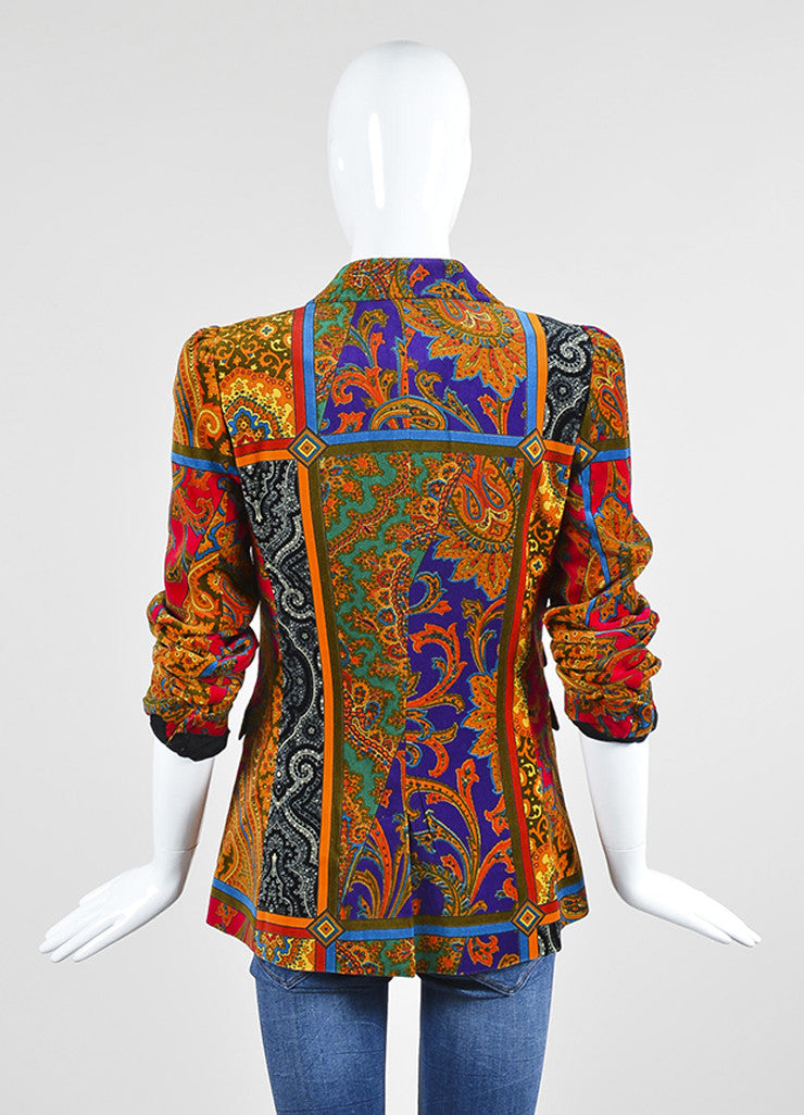 Red, Green, and Purple Dolce & Gabbana Silk and Cotton Velvet Paisley Blazer Backview