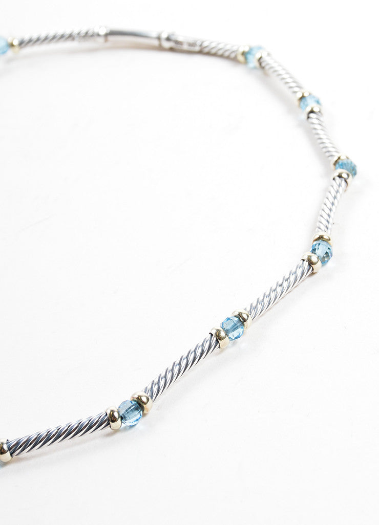 David Yurman Gold Sterling Silver Blue Topaz Cable Choker Necklace Detail 2