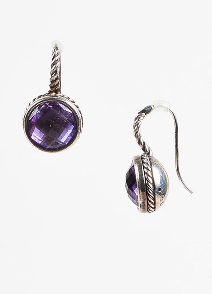 "David Yurman Sterling Silver and Amethyst ""Color Classics"" Drop Earrings Sideview"