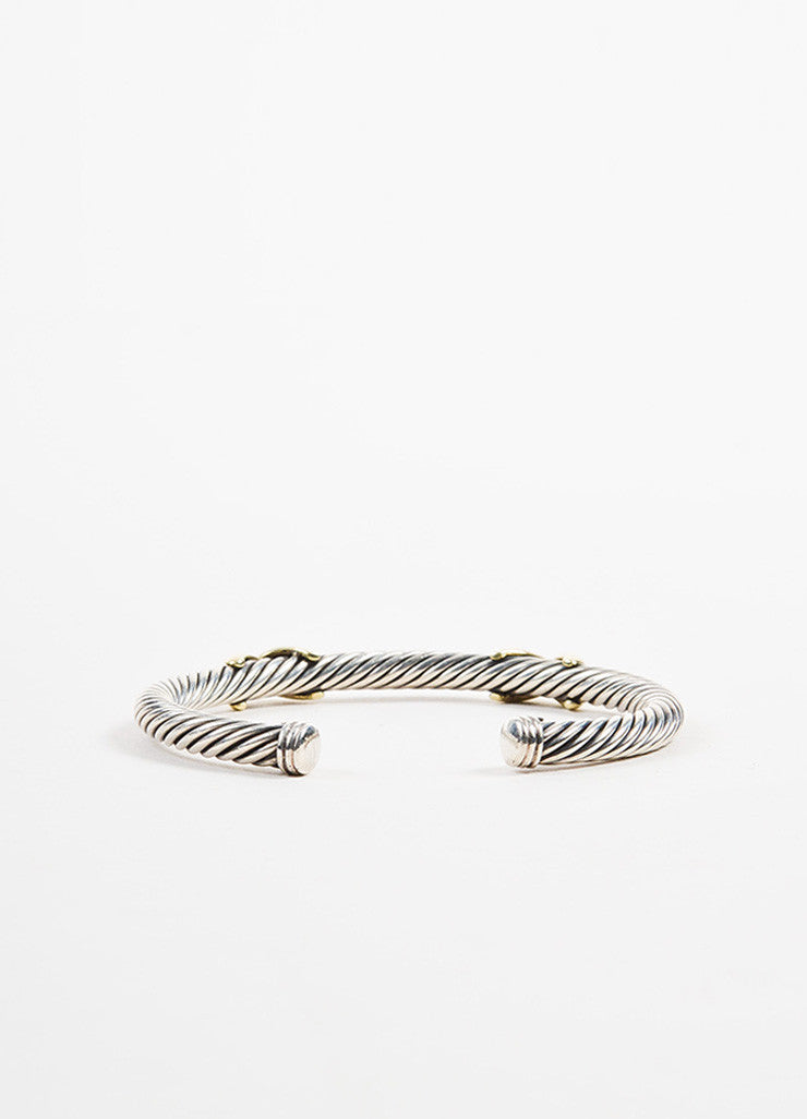 "David Yurman Sterling Silver and 14K Yellow Gold ""Double X"" 5mm Cable Bracelet Backview"