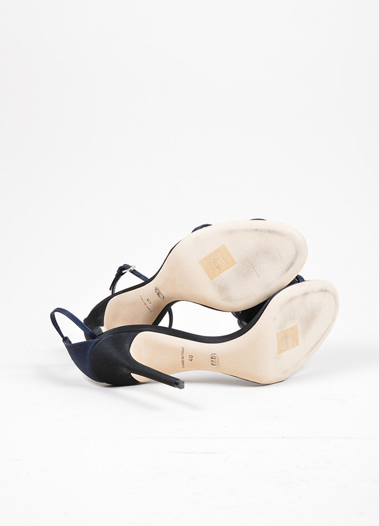 "Black and Navy Christian Dior Silk Rose High Heel ""Garden"" Sandals Outsoles"