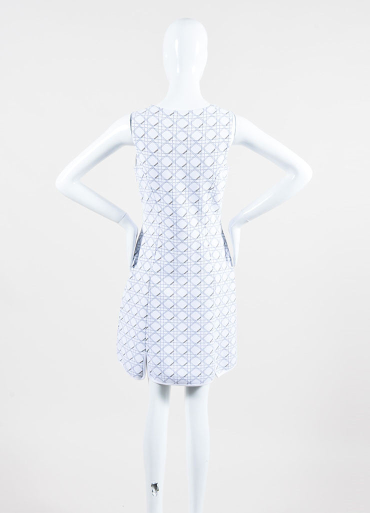 "White and Black Christian Dior Knit ""Cannage"" Print Sleeveless Dress Backview"
