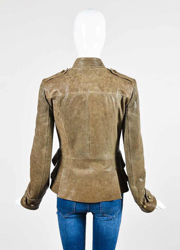 Dolce & Gabbana Taupe Brown Leather Military Double Breasted Jacket Backview