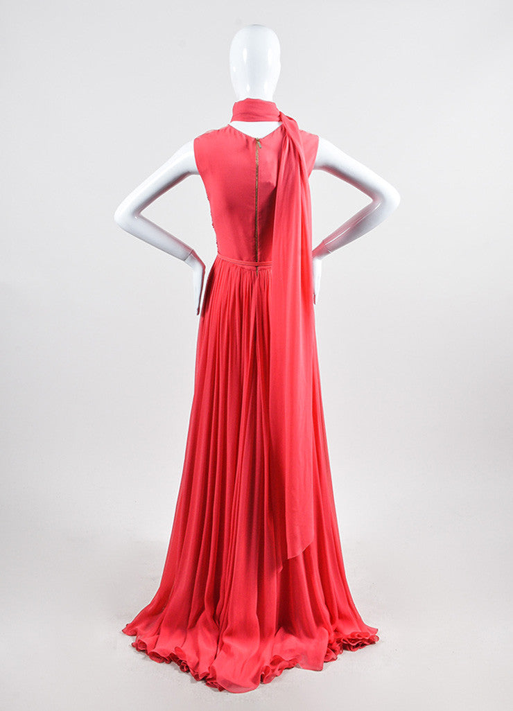 Coral Pink Elie Saab Silk Chiffon Bead Sequin Embellished Gown Backview