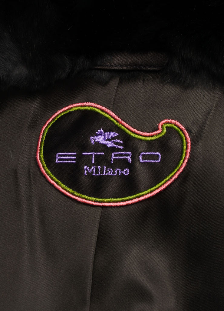 Etro Black and Multicolor Fur Woven Striped Zip Jacket Brand