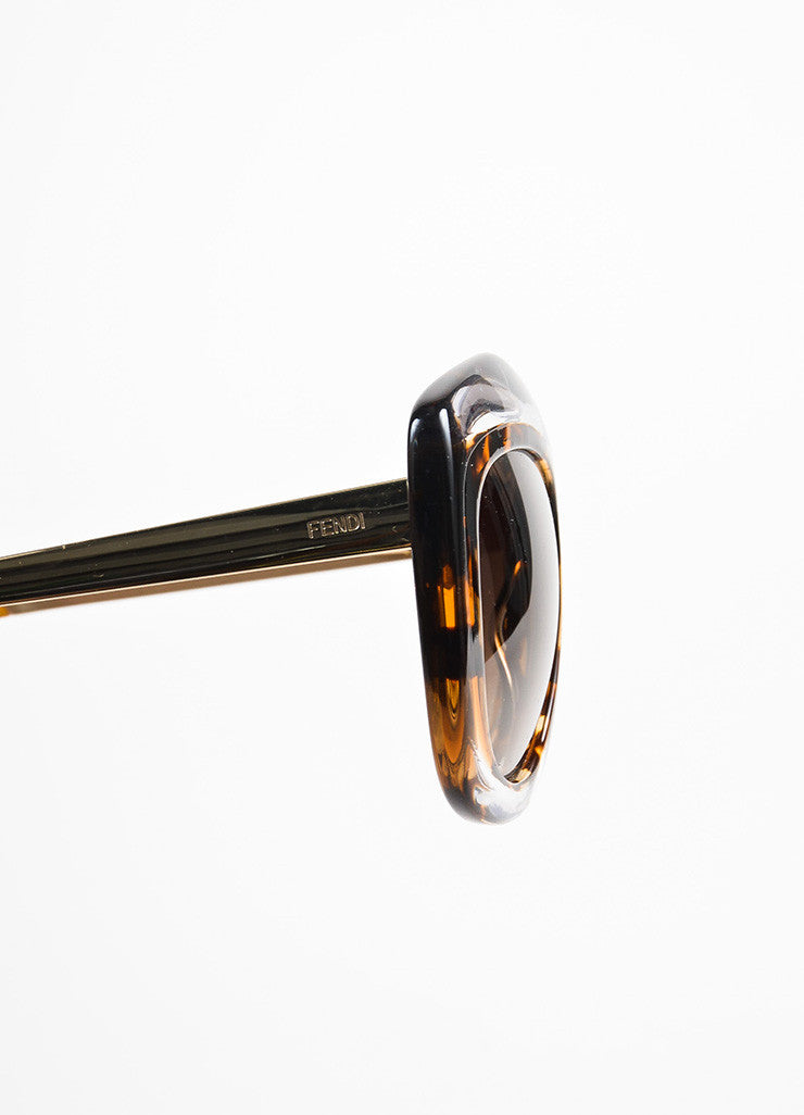 Fendi Brown and Clear Tortoise Shell Oversized 'FF 0029 S' Cat Eye Sunglasses Detail