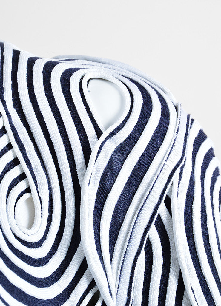 Giorgio Armani Black and White Stretch Knit Loopy Cut Out Jacket Detail