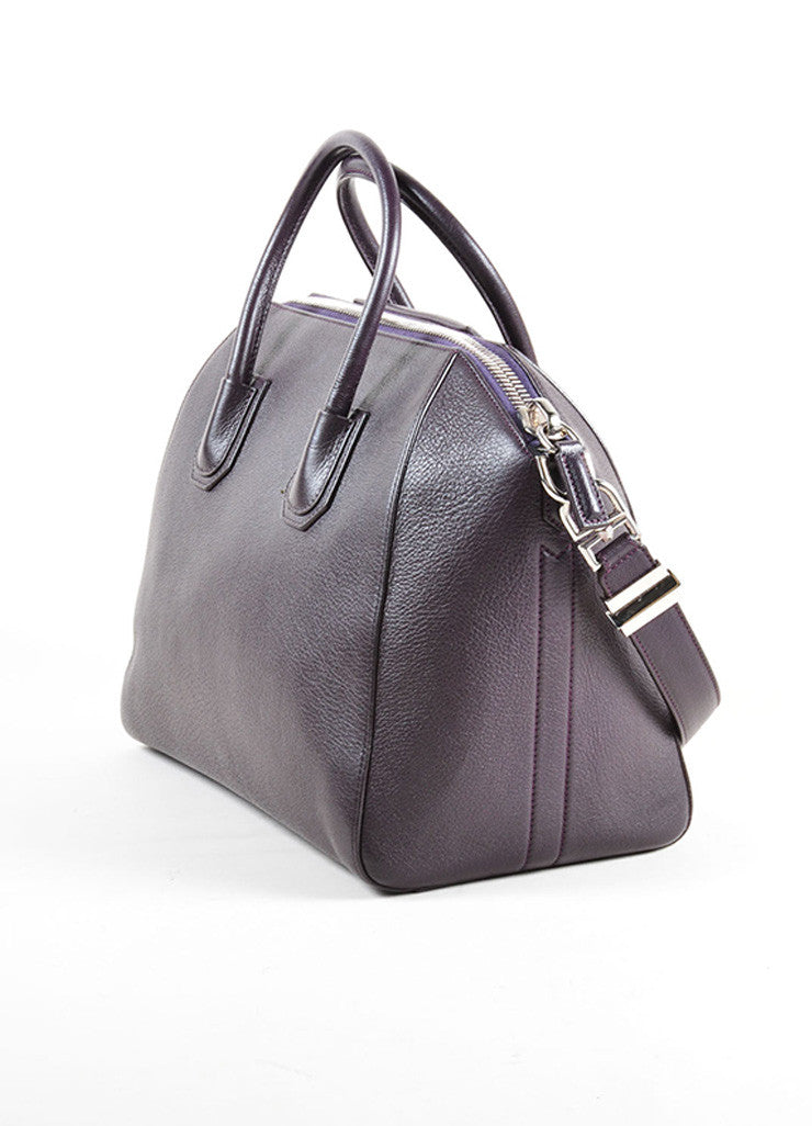 "Givenchy Dark Purple Grained ""Sugar"" Goatskin Leather Medium ""Antigona"" Handbag Sideview"