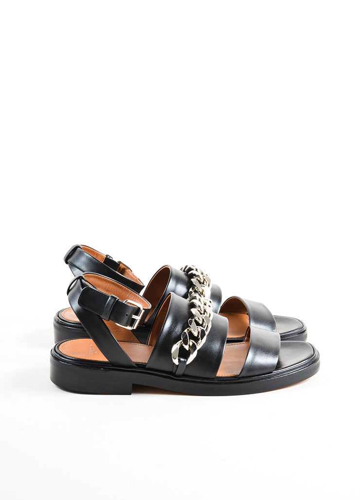 Givenchy Black Leather Silver Tone Chain Link Flat Sandals Sideview