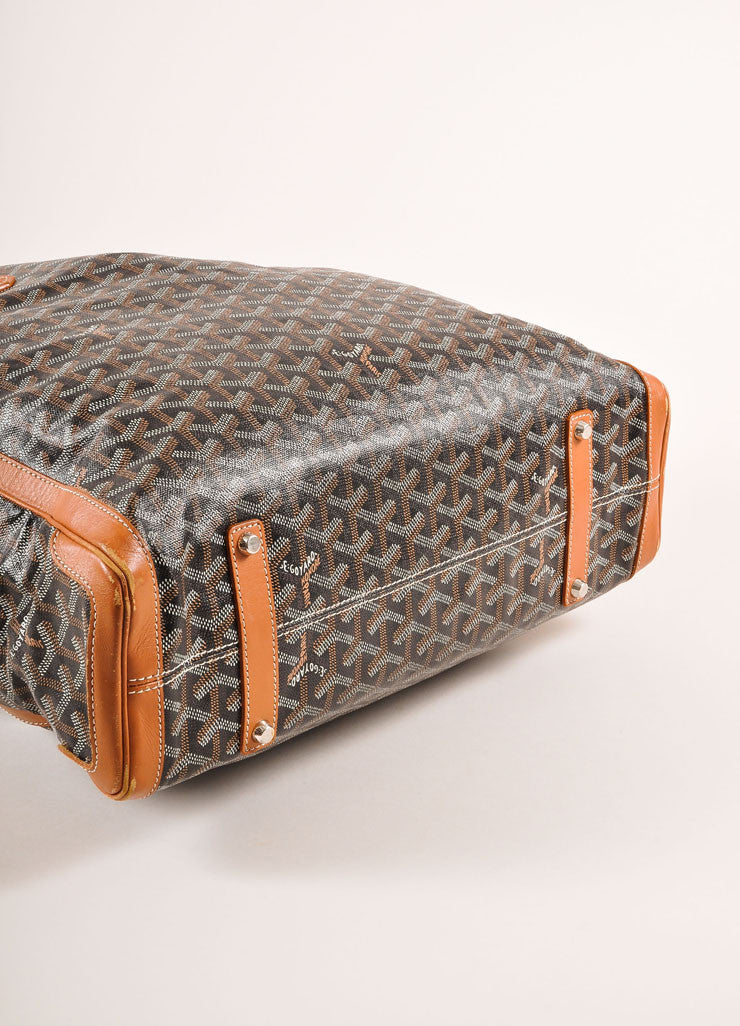 "Goyard Tan, Black, and White Canvas and Leather Chevron Print ""Voltaire"" Tote Bag Bottom View"