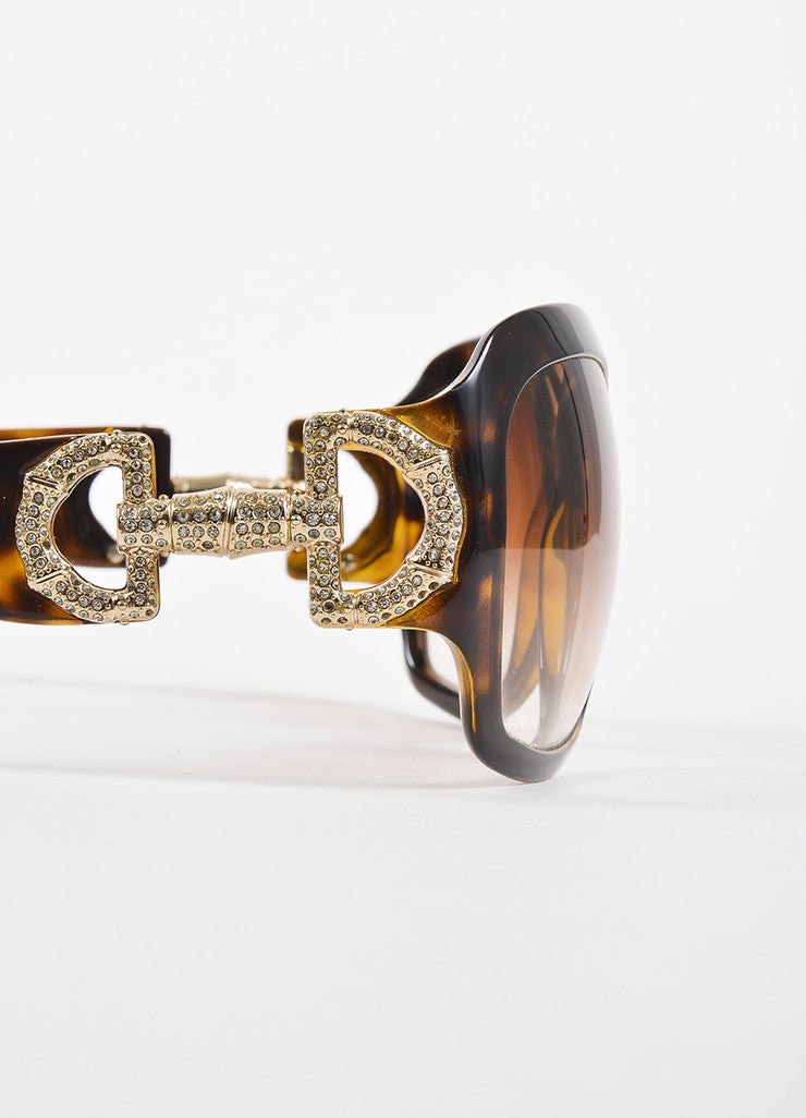 "Gucci Brown Havana Rhinestone Embellished Horsebit ""3017/S"" Square Sunglasses Detail"