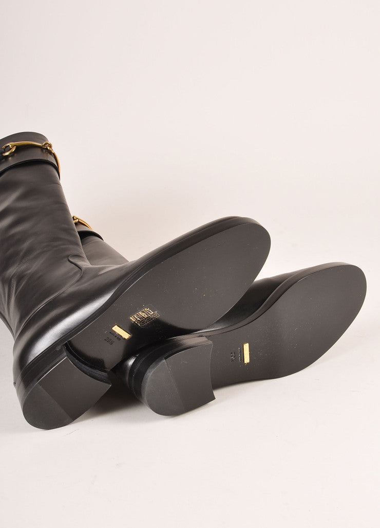 "Gucci New In Box Black Leather and Gold Toned Horse Bit ""Jamie"" Riding Boots Outsoles"