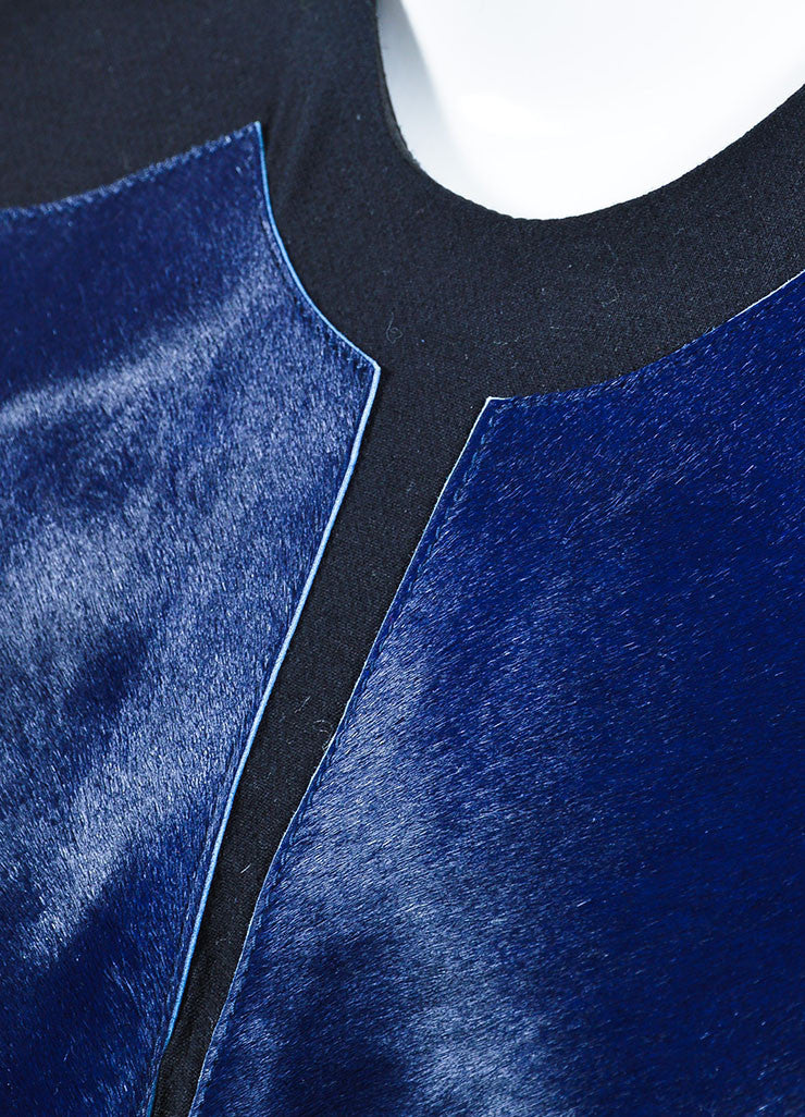 Helmut Lang Navy and Black Pony Hair and Wool Slit Back Sleeveless Top Detail