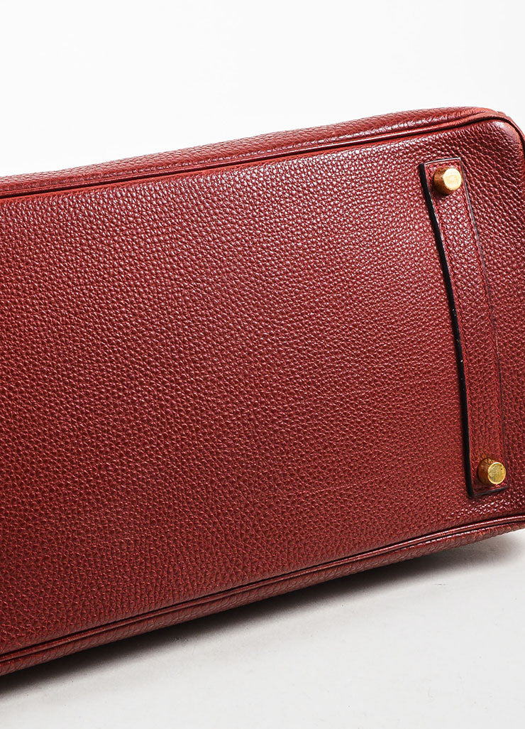 "Hermes Dark Red ""Rouge"" Clemence Leather Flap ""Birkin"" Bag Bottom View"