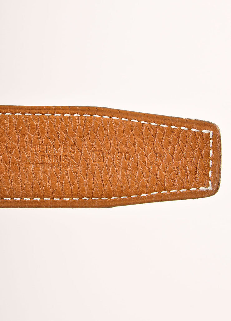 "Hermes Black and Brown Reversible Leather ""Constance"" Belt Brand"