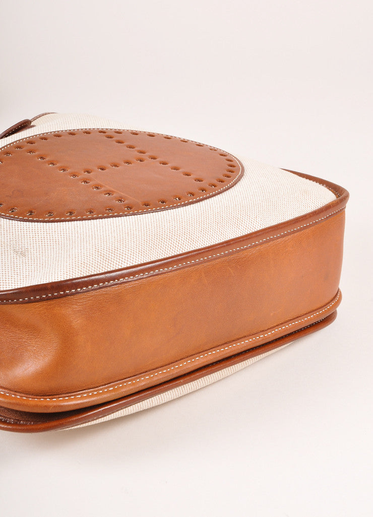 "Hermes Brown and Cream Leather and Canvas ""Evelyne PM"" Crossbody Shoulder Bag Bottom View"