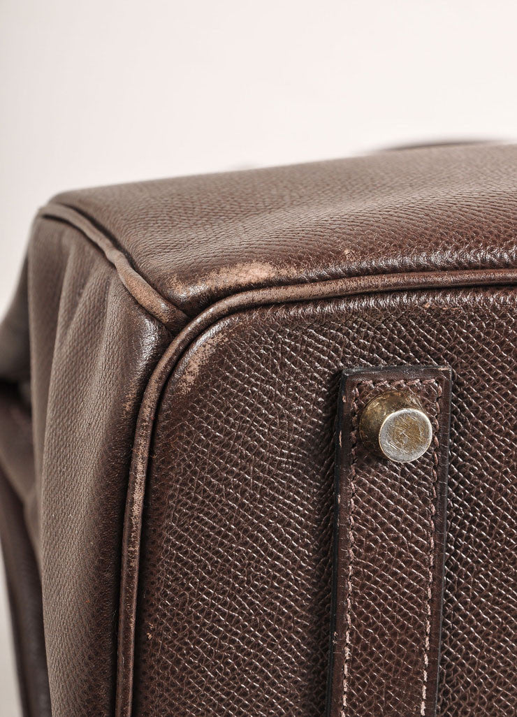 "Chocolate Brown and Gold Toned Hermes Epsom Leather 35 cm ""Birkin"" Bag Detail"