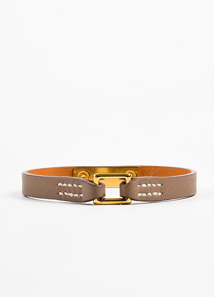 "Hermes Taupe and Gold Toned Leather ""Micro Rivale"" Bracelet Backview"