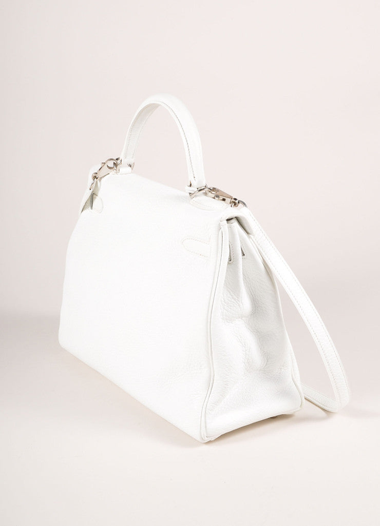"Hermes New Without Tags White and Silver Toned Togo Leather 32cm Two Way ""Kelly"" Bag Sideview"