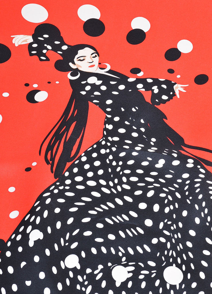 "Red and Black Hermes Silk Printed ""Hola Flamenca"" Scarf Detail"