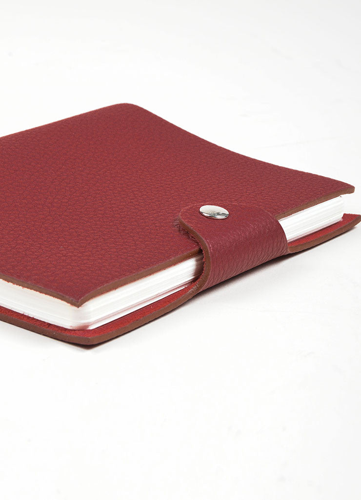 "Red Pebbled Leather Hermes ""Ulysse PM"" Agenda Notebook Cover with Paper Refill Sideview"