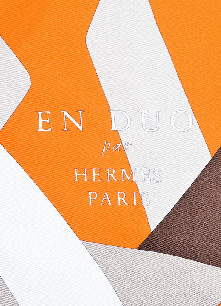 "Orange, Brown, and White Hermes Silk ""En Duo"" Scarf Detail 2"