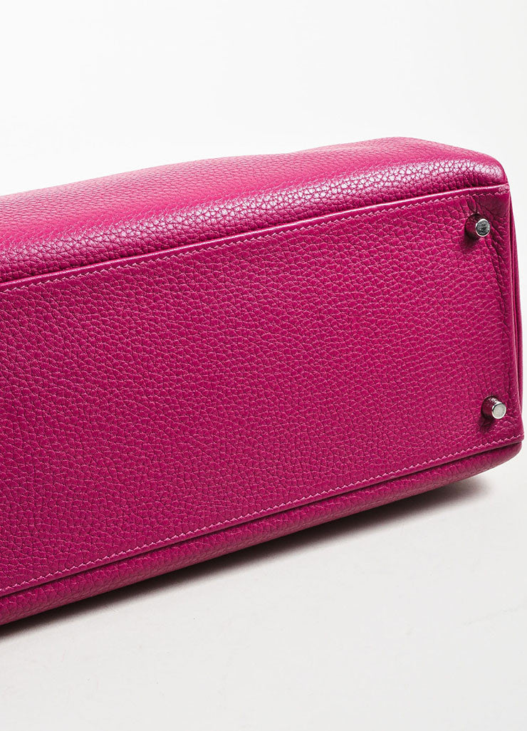 "Hermes 'Tosca' Magenta Pink Clemence Leather 40cm ""Kelly"" Structured Handbag Bottom View"