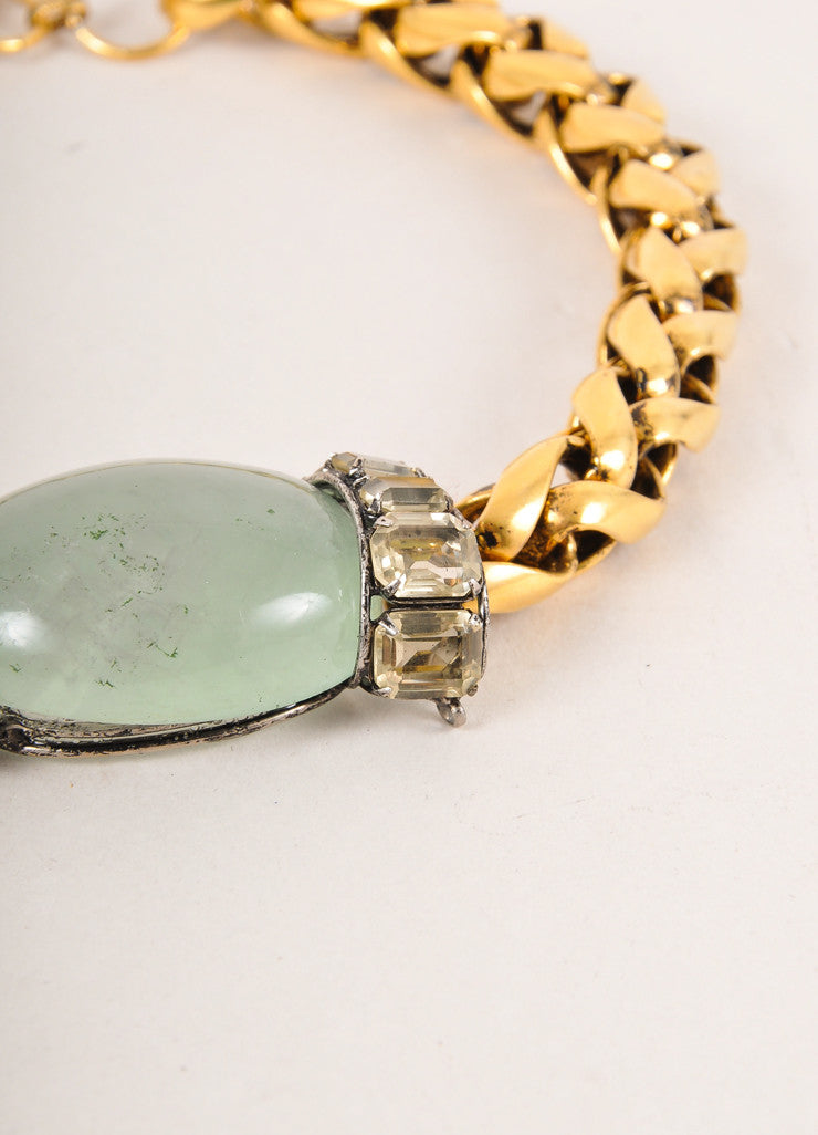 Iradj Moini Gold Toned and Green Chunky Cabochon Stone and Chain Choker Necklace Detail 2