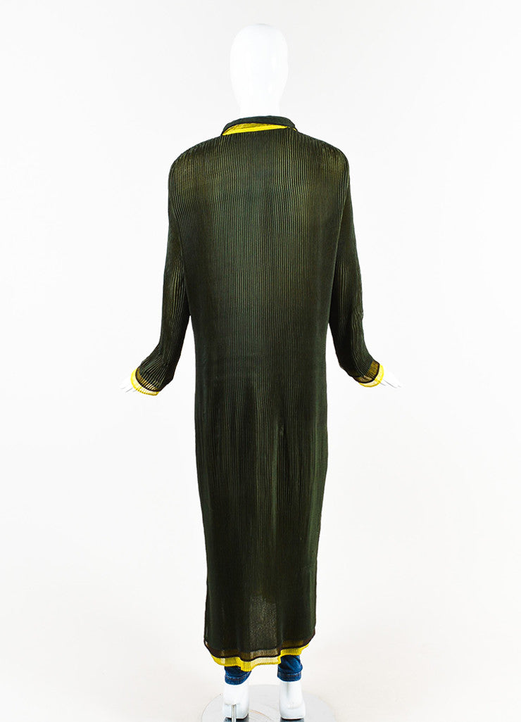 Issey Miyake Olive Green Stretch Pleated Color Block Long Duster Jacket Backview