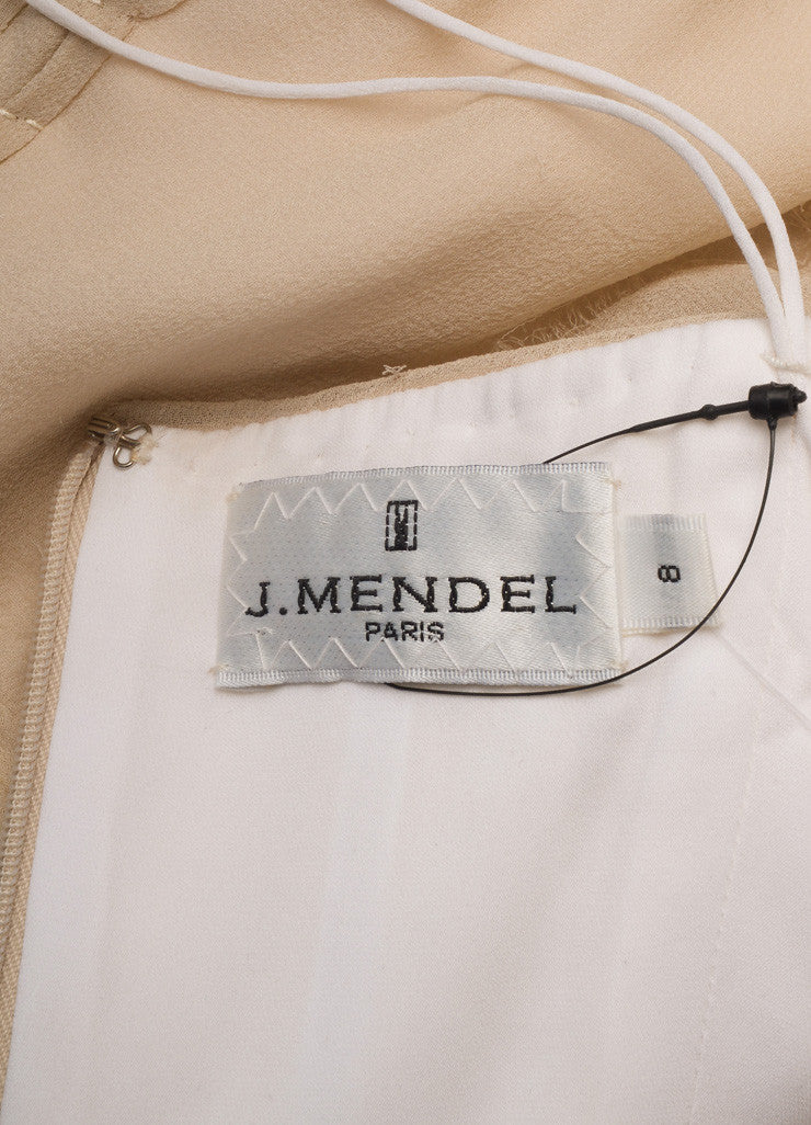 J. Mendel Taupe Chiffon Bustier Top Brand