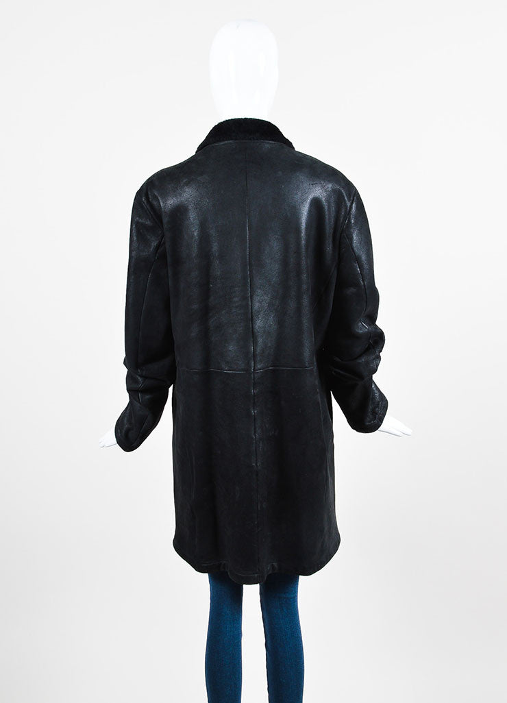 ‰ۢÌöÌÛJil Sander Black Coated Leather Shearling Lined Coat Backview