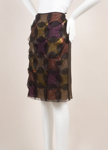 Jil Sander Black and Multicolor Silk Patchwork Circle Overlay Straight Skirt Sideview