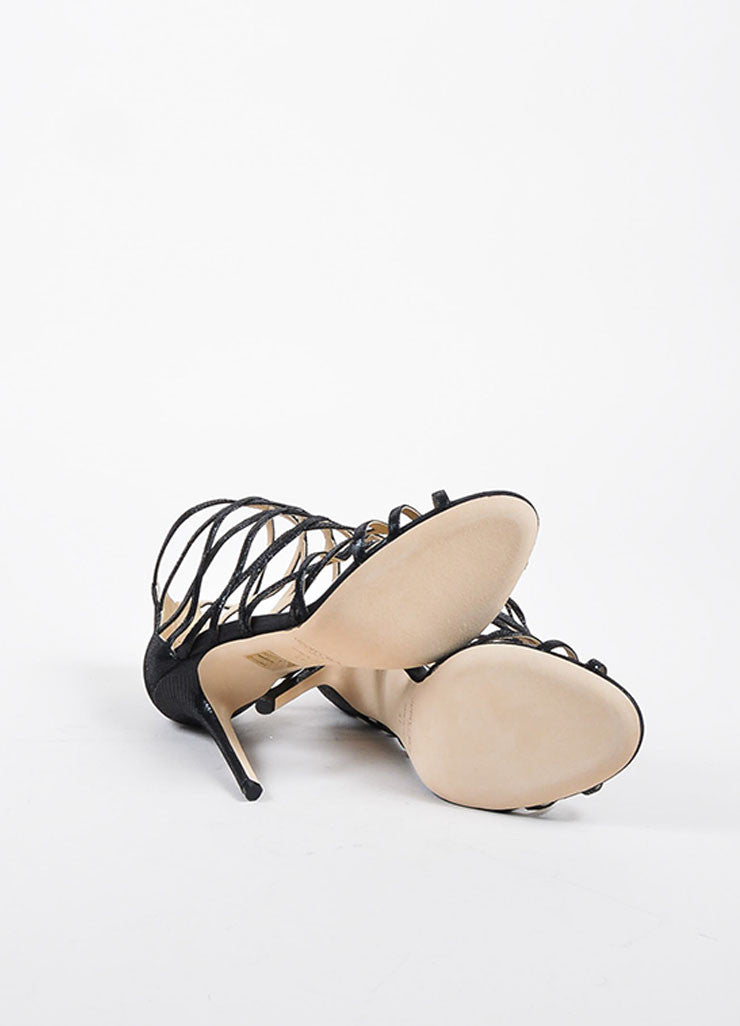 "Jimmy Choo Black Embossed Leather ""Fiesta"" Caged Heeled Sandals Outsoles"