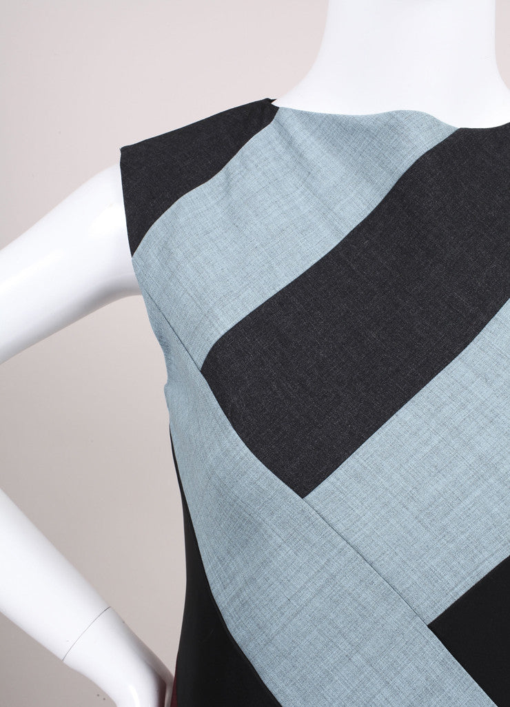 "Jonathan Saunders New With Tags Blue, Grey, and Multicolor Paneled ""Poppy"" Dress Detail"