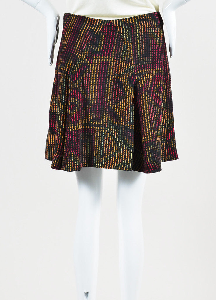 Black and Multicolor Kenzo Silk Rune Print Flare Skirt Backview