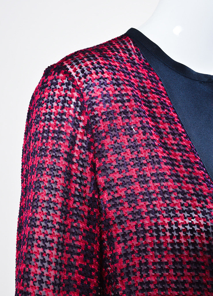 Red and Navy Lanvin Silk Grosgrain Ribbon Houndstooth Long Sleeve Sheer Top Detail