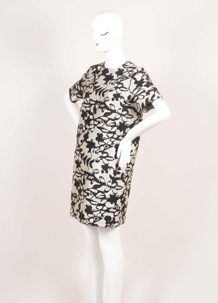 Lanvin New With Tags Grey and Black Woven Knit Floral Oversized Short Sleeve Dress Sideview