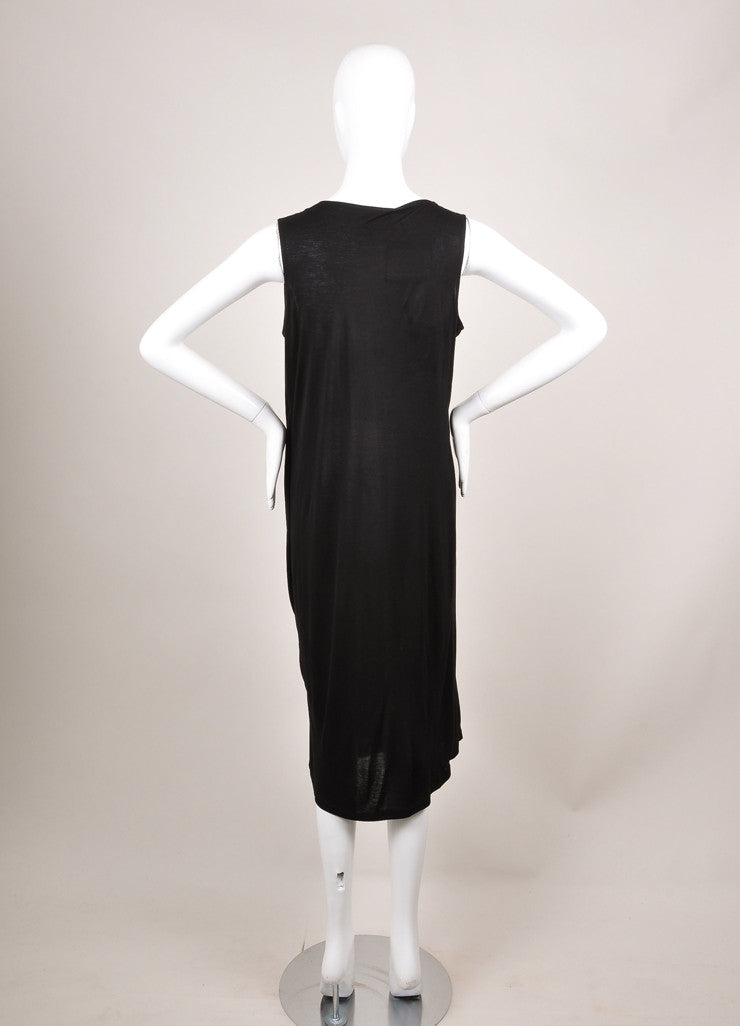 Lanvin New With Tags Black and Silver Metallic Trim Sleeveless Knit Jersey Dress Backview