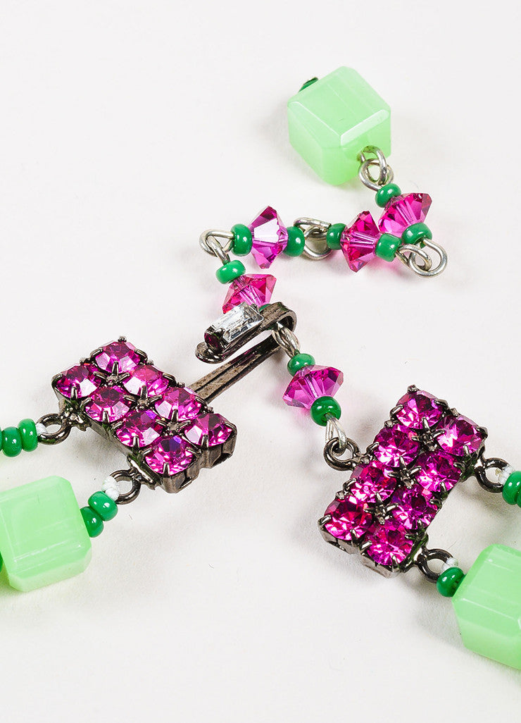 Lawrence VRBA Green and Pink Beaded Crystal Flower Pendant Necklace Earrings Set