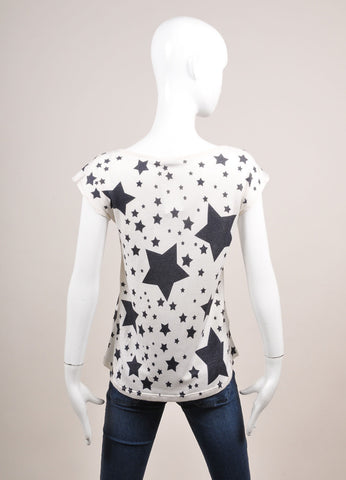 Leetha New With Tags White and Black Star Print Cashmere and Silk T-Shirt Backview