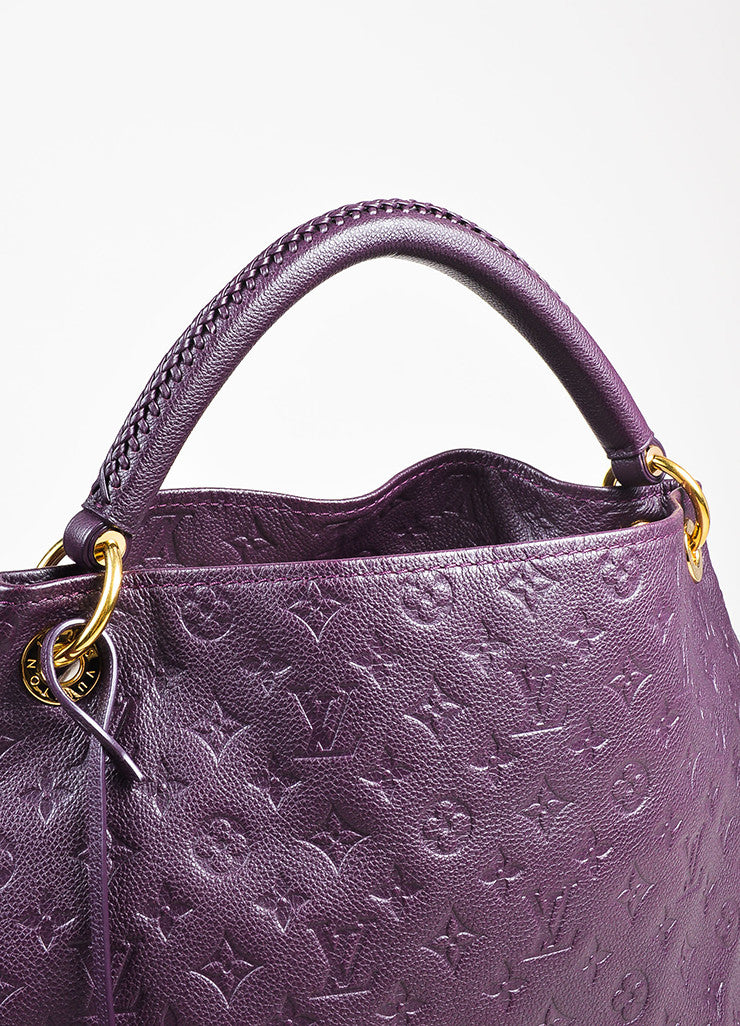 Louis Vuitton Aubergine Purple Monogram Empreinte Leather Artsy MM Bag Detail