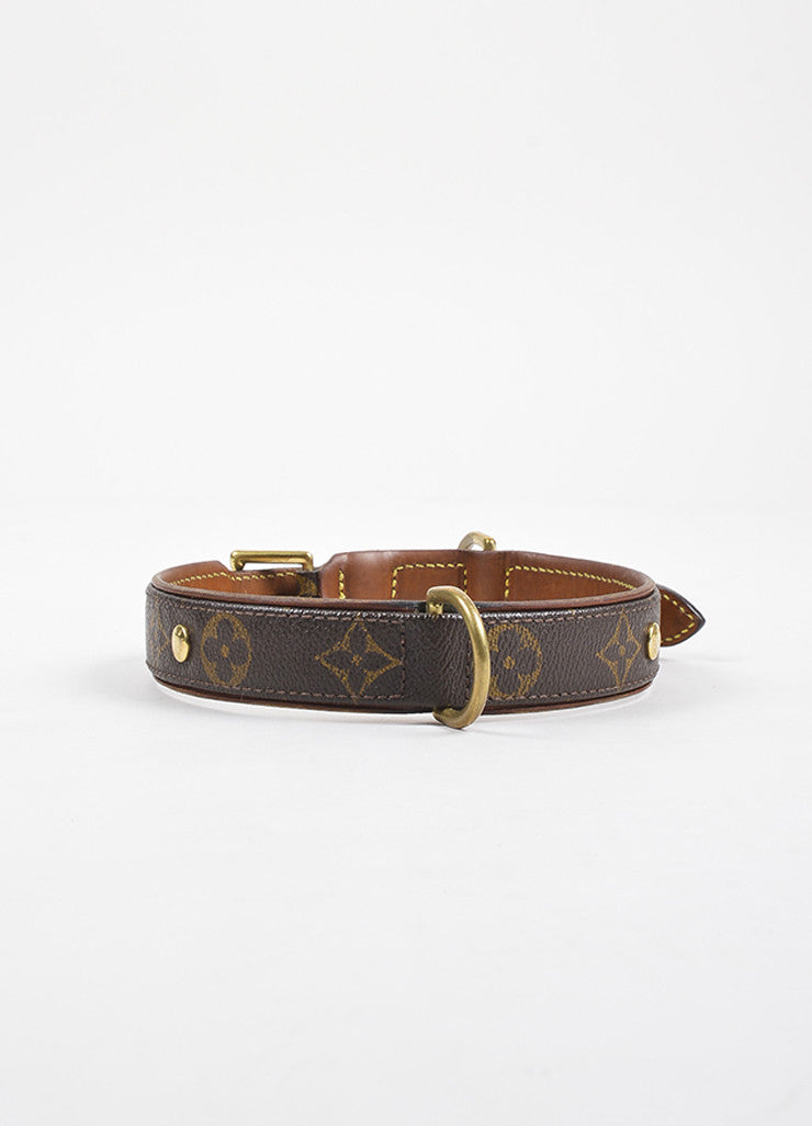 "Louis Vuitton Brown Leather Trim Monogram ""Baxter Dog Collar GM"" Backview"