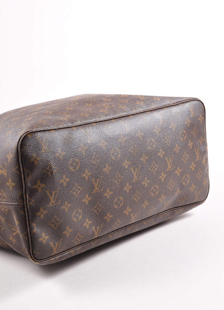 "Louis Vuitton Brown Monogram Canvas ""Neverfull GM"" Shoulder Tote Bag Bottom View"