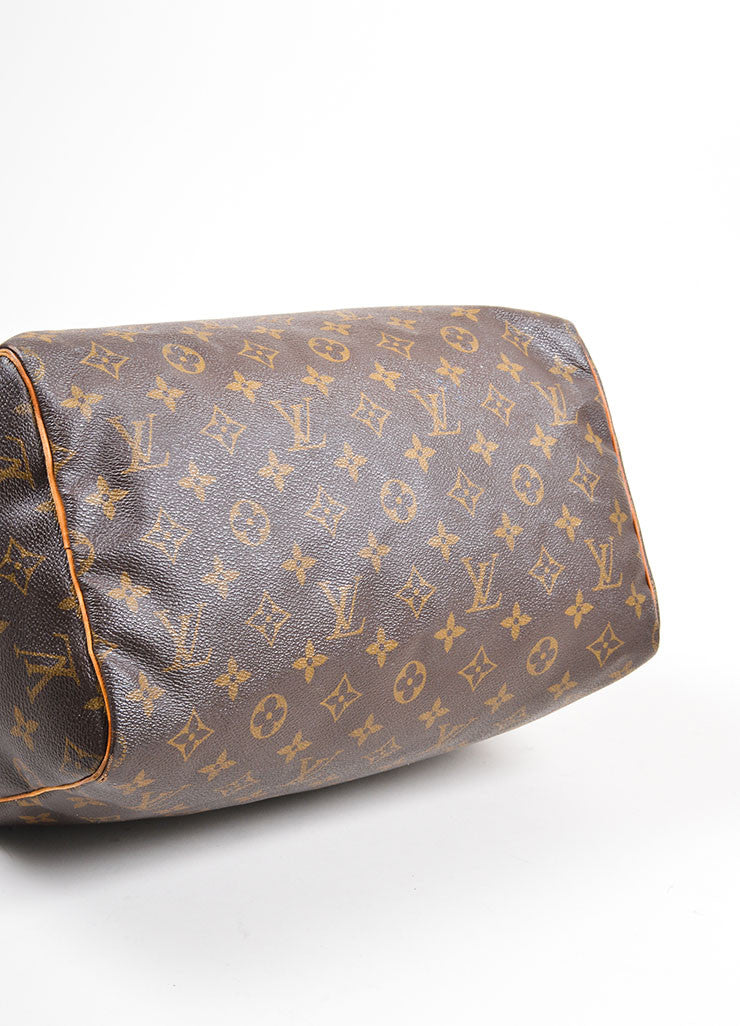 "Brown Louis Vuitton Monogram Canvas ""Speedy 30"" Handbag Bottom View"