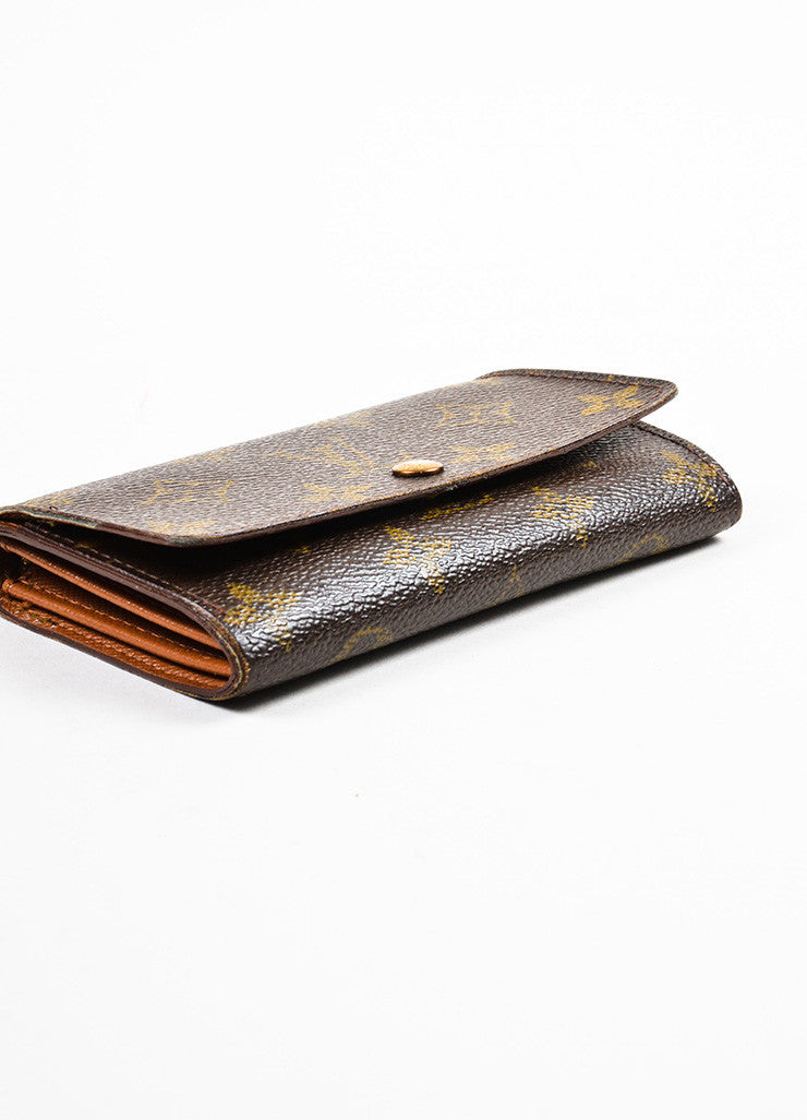 "Louis Vuitton Brown and Tan Coated Canvas Monogram ""Porte-Monnaie Tresor"" Wallet Bottom view"