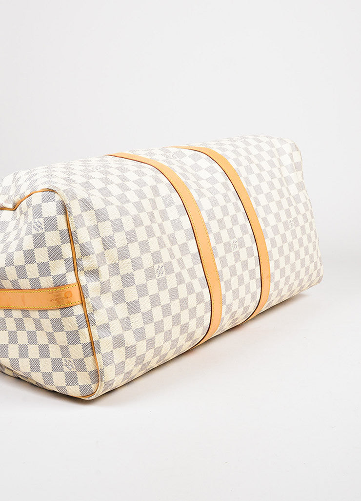 "Louis Vuitton Cream Navy Damier Canvas ""Keepall Bandouliere 55"" Bag Detail"