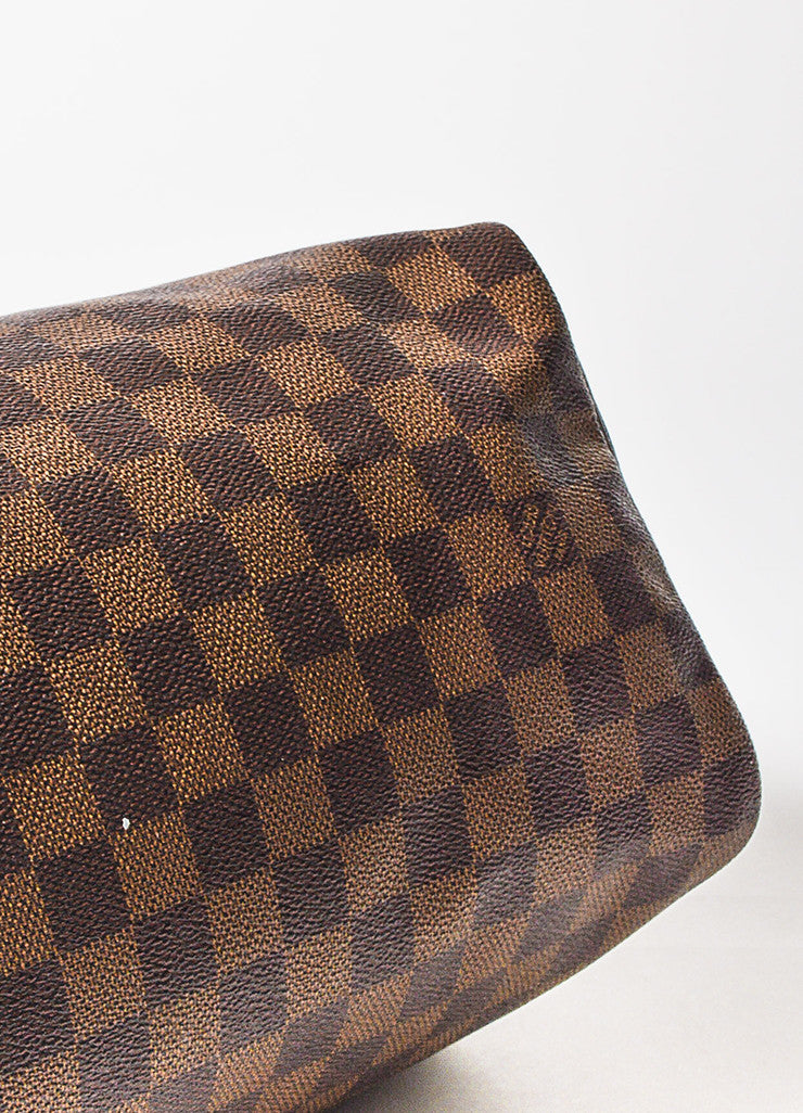"Louis Vuitton Damier Ebene Brown Coated Canvas Leather Checkered ""Speedy 25"" Bag Bottom View"