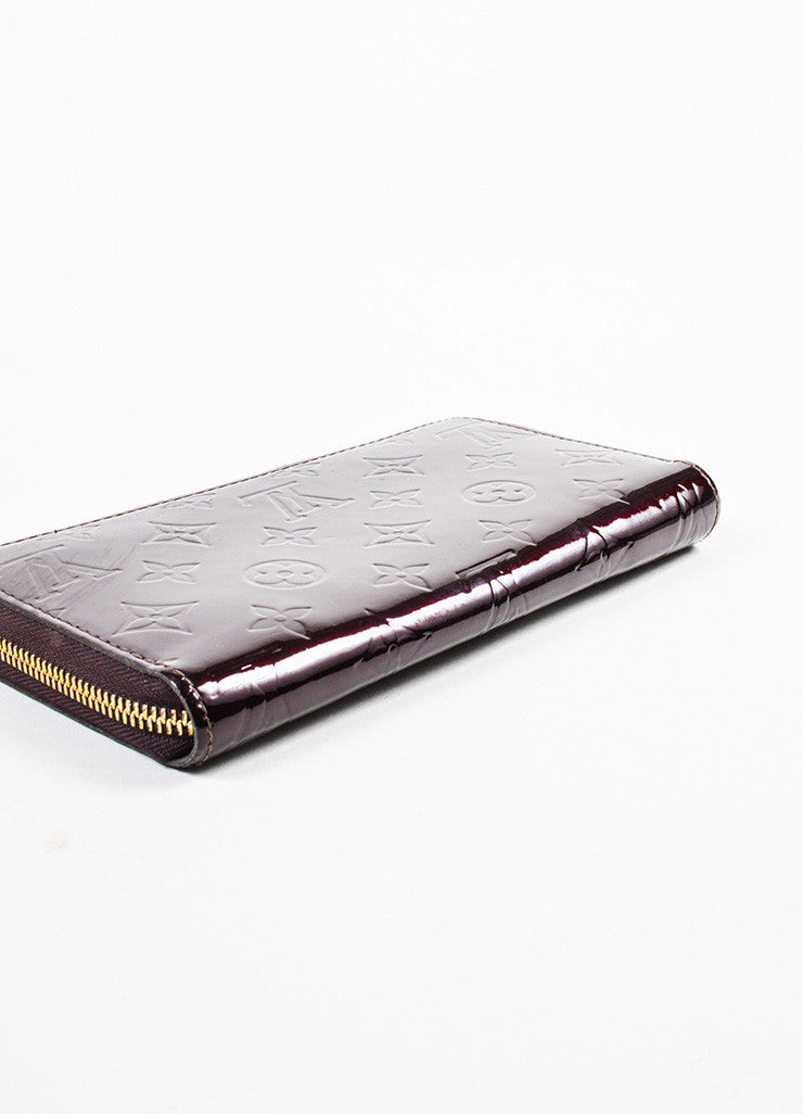 "Louis Vuitton Eggplant ""Amarante"" Patent Leather Monogram ""Vernis Zippy"" Wallet Bottom View"